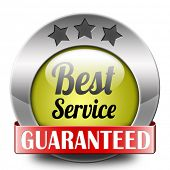 best service 100% customer satisfaction guaranteed sticker label  sign or button