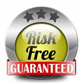 image of risk  - risk free label or sign 100 - JPG