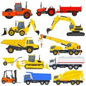 stock photo of excavator  - vector illustration of industrial transportation machine - JPG