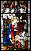 stock photo of stained glass  - Nativity scene in old stained glass window - JPG