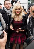 NEW YORK-FEB 9: Singer Rita Ora arrives at the DKNY fashion show during Mercedes-Benz Fashion Week at Cedar Lake on February 9, 2014 in New York City.