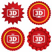 3D TV sign icon. 3D Television set symbol.
