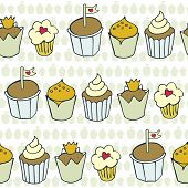 so many decorated cupcakes in rows on light patterned background sweet colorful seamless pattern