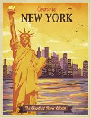 Travel to New York Poster - Vintage travel advertisement with New York City and Statue of Liberty against the sunny sky; hand drawn vector illustration