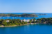 Croatia Islands And Adriatic Sea. Aerial View From Rovinj Belfry