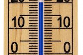 Straight Close Up Mercury Room Thermometer In Celcius