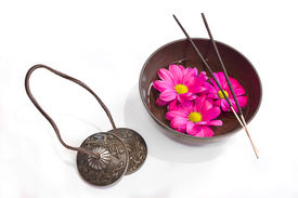 stock photo of tibetan  - Image of several objects used in Buddhist alternative therapies - JPG