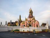 The Elephants Statue  In Front Of Wat Phra Kaew (the Grand Palace) Of Thailand.