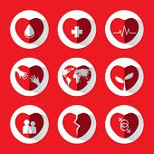 Red Heart Icon Set With Idea And Concept.vector.