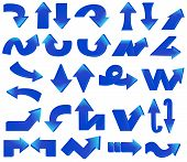 Type Of Various Blue Arrow Set
