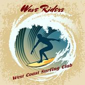 Wave Riders vector surfing label