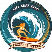 image of watersports  - Circular surfing badge design with a girl surfing on her board inside a curling wave with the text City Surf Club and a ribbon banner with the words Pacific Surfers - JPG