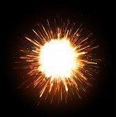 image of fiery  - Powerful explosion on black background - JPG