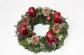 Advent Wreath With Ruby Red Candles And Silver Glittering Cones