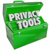 Privacy Tools words in 3d letters in green metal toolbox as resources, information, tips, advice or