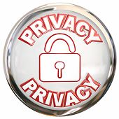 Privacy round 3d button or icon for protecting your data or personal information from theft or onlin