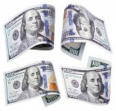 Set Of 100 Dollar Banknotes On White