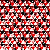 Triangles geometric seamless pattern in black red and white, vector