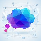 Colorful geometric bubble for speech. Vector illustration.