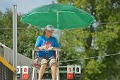MOSCOW, RUSSIA - JULY 18, 2014: Referee counts the score during ITF Beach Tennis World Team Champion