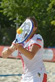MOSCOW, RUSSIA - JULY 17, 2014: Lyudmila Nikoyan of Russia on the training during the ITF Beach Tenn