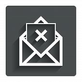 Mail delete icon. Envelope symbol. Message sign
