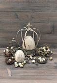 Vintage Easter Decoration With Eggs, Nest And Birdcage