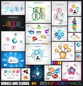 Collection of 20 Infographics with bubbles and clouds. Flat style UI design elements for your busine