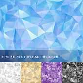 Photo of set of geometric patterns. Triangles polygonal backgrounds. Eps10 vector illustration.