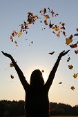 Girl With Outstretched Arms, Throwing Autumn Leaves In The Sky