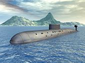 stock photo of u-boat  - Computer generated 3D illustration with a Russian Nuclear Submarine of the cold war - JPG