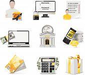 Vector banca online icon set.