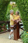Senior couple at tropic hotel resort