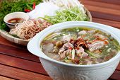 Sour pork soup eating with rice noodle, Vietnamese people usually eat this dish during a hot summer