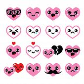 hearts, Valentine's Day cute vector icons set
