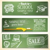 Welcome back to school messages on the chalkboard. Drawings - globe, notebook, book, graduation cap,