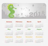 Calendar 2015 year with sea horse