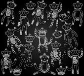 Vector Collection of Cute Doodle Chalkboard Sock Monkeys