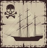 stock photo of brigantine  - Large ship and skull over old paper - JPG