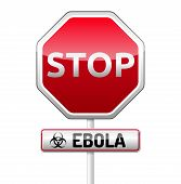 Ebola Virus Danger Sign With Reflect And Shadow On White Background.