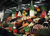 Display of arranged vegetables at horticultural show