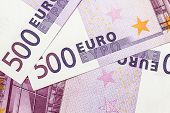 Background of 500 euro banknotes