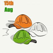 Caps in national tricolors on beige background for 15th of August, Indian Independence Day celebrati