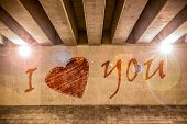 I Love You With Heart Painted As Graffiti