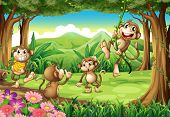 stock photo of chimp  - Illustration of monkeys playing in the forest - JPG