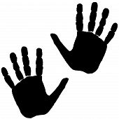 picture of carbon-footprint  - hand footprint of a man isolated on white background - JPG