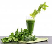 Healthy Diet Health Foods With Nutritious Freshly Juiced Green Vegetable Juice With Celery, Broccoli
