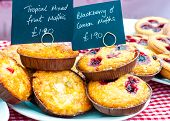 Delicious Round Raspberry Tarts In British Market