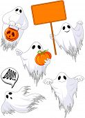Set of cute ghosts with Halloween elements