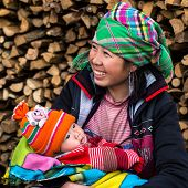Happy Hmong Woman With Baby, Sapa, Vietnam